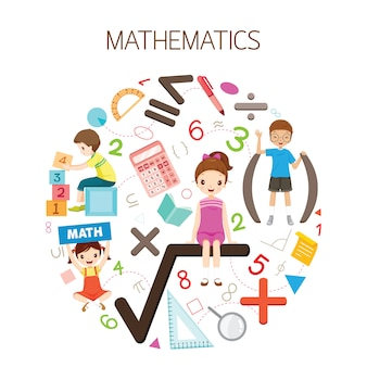 Children with mathematics formula, number and icons, student back to school