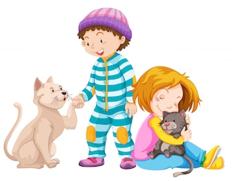 Children with pet cats