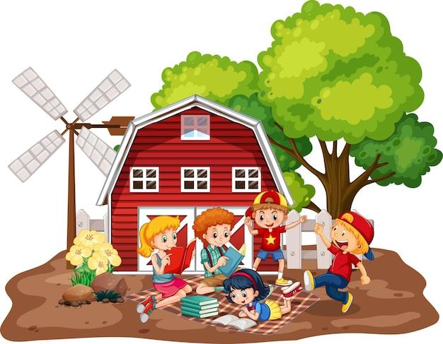 Children with red barn in farm scene