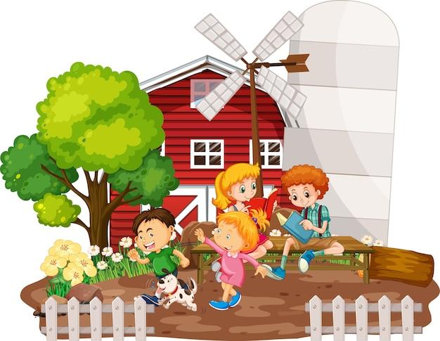 白い背景の上の農場のシーンで赤い納屋を持つ子供たち