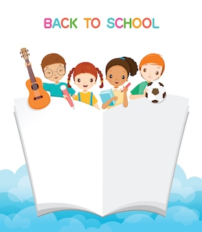 Children with school supplies and book, back to school