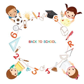 Children with school supplies icons on circle frame, back to school, stationery