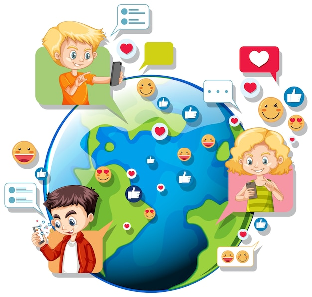 Children with social media elements on earth globe