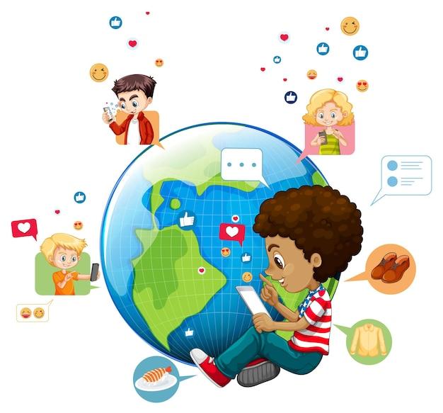地球上のソーシャルメディア要素を持つ子供たち