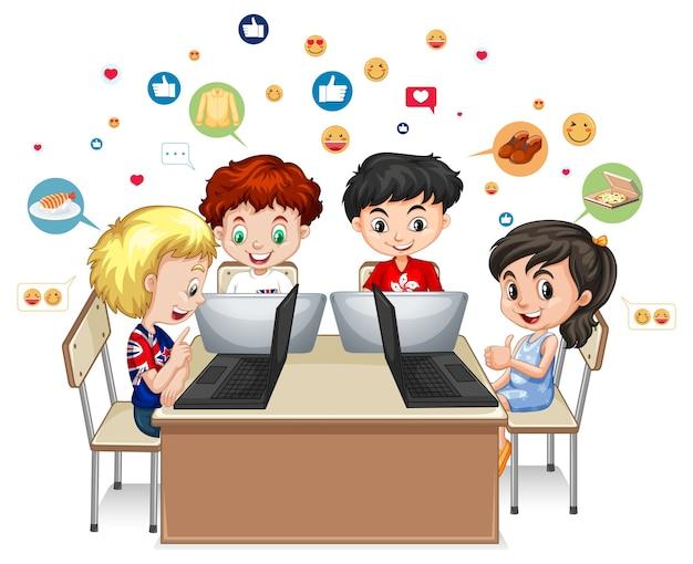 白い背景の上のソーシャルメディア要素を持つ子供