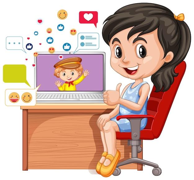 Дети с элементами социальных сетей на белом фоне