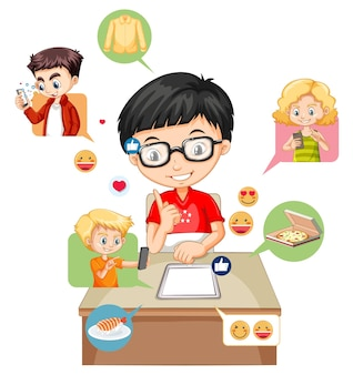 화이트에 소셜 미디어 요소와 어린이
