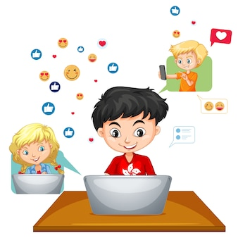 Children with social media elements on white background
