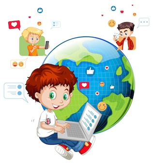 Children with social media elements on white