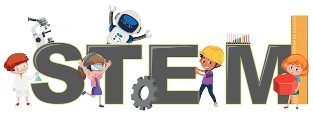 Children with stem logo