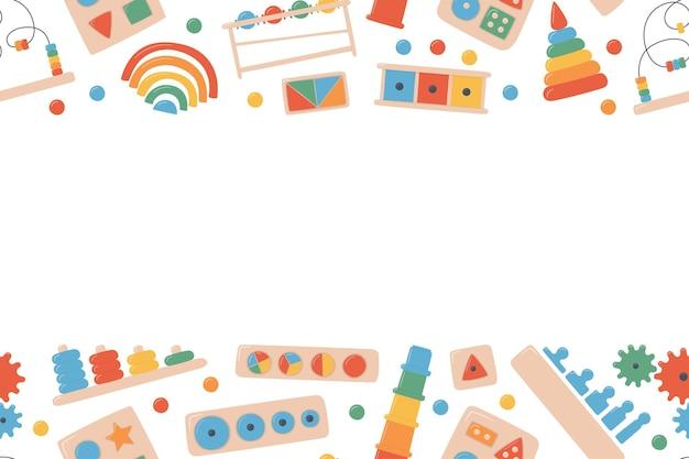 Children wooden toys for montessori games background. education logic toys for preschool kids. montessori system for early childhood development.
