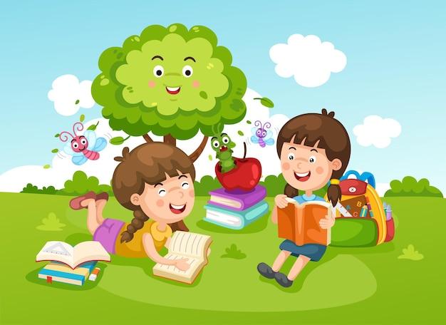 아이들이 일하고 공원에서 책을 읽고