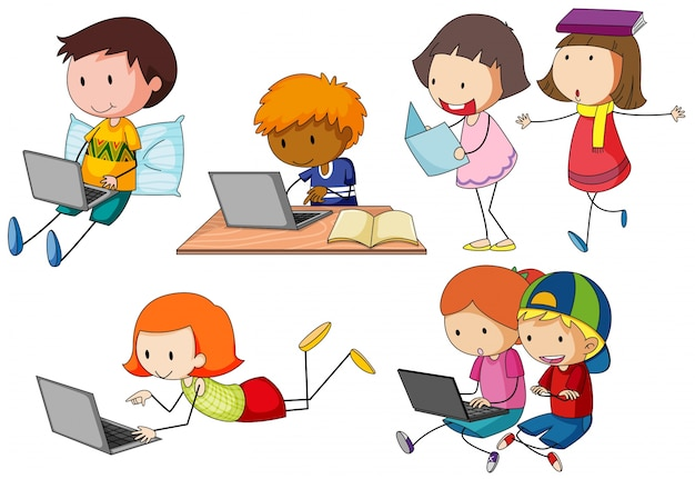コンピュータのラップトップで働く子供たち