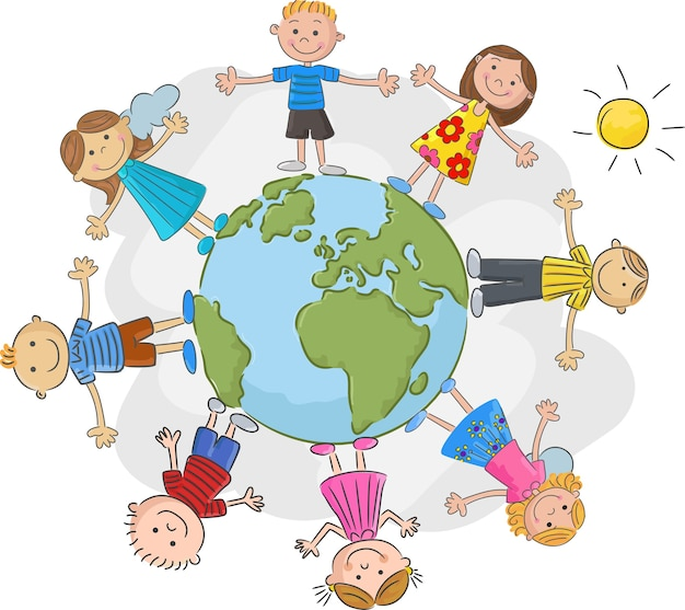 Children world over white background