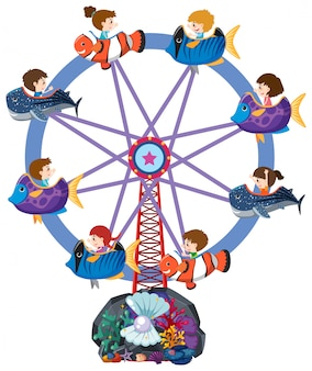 Childrend riding on ferris wheel with fish carts
