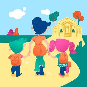 Childrens back to school illustration
