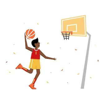Childrens basketball championship. basketball player with ball. young boy cartoon action character.