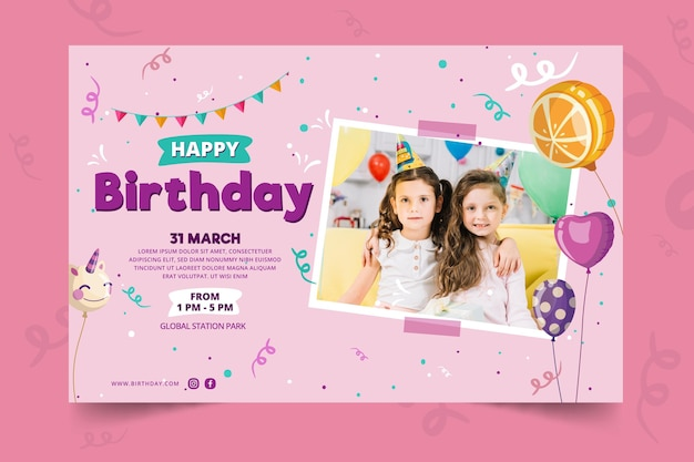 Childrens birthday banner template