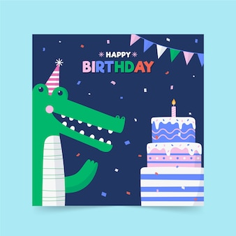 Childrens birthday card template concept