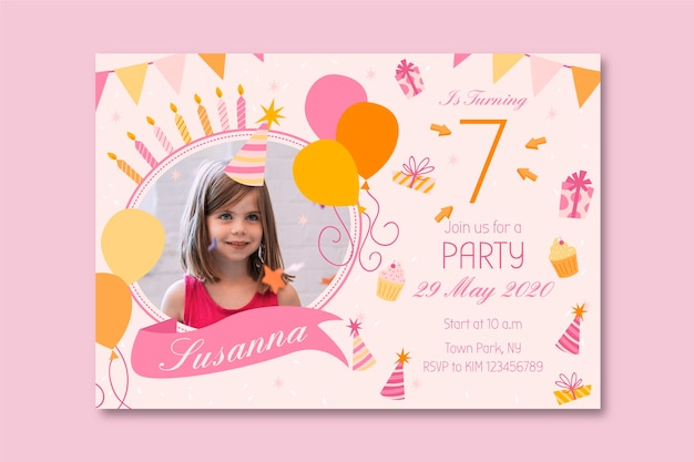 Childrens birthday card template design
