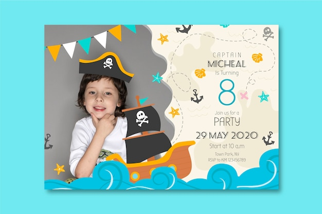 Childrens birthday card template style