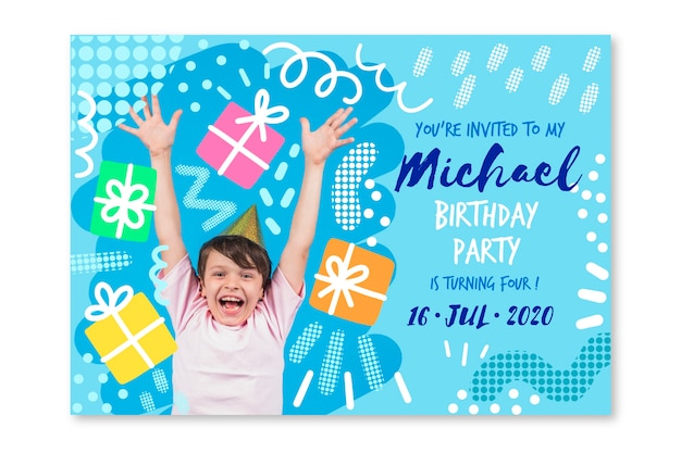Childrens birthday card template with photo theme