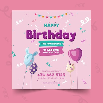 Childrens birthday card template