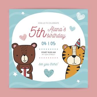 Volantino di compleanno per bambini design