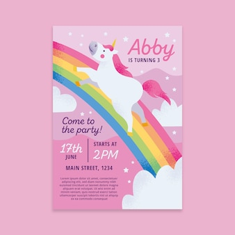 Childrens birthday invitation template concept