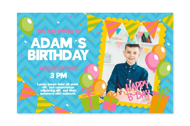 Childrens birthday invitation template theme