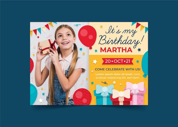 Childrens birthday invitation template with photo concept