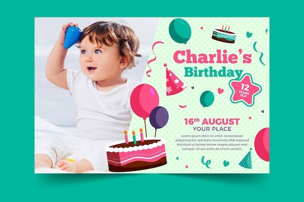 Childrens birthday invitation template with photo