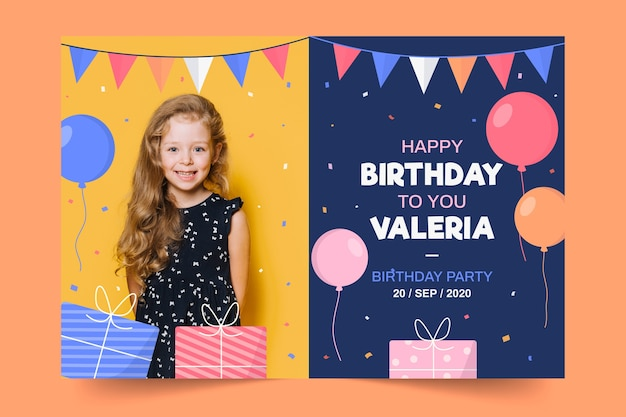 Childrens birthday invitation template with photo