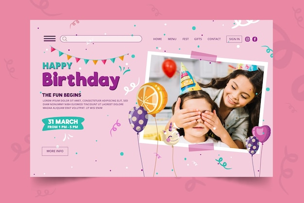 Childrens birthday landing page template