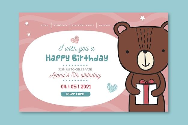Pagina di destinazione del compleanno per bambini