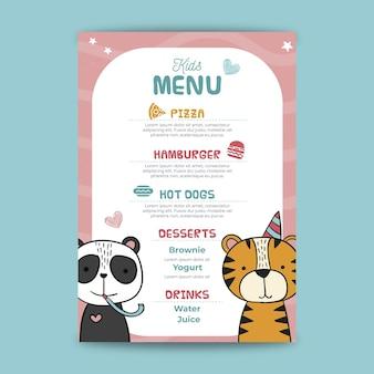 Childrens birthday menu template