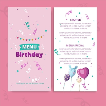 Childrens birthday menu template