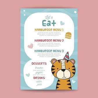 Childrens birthday menu