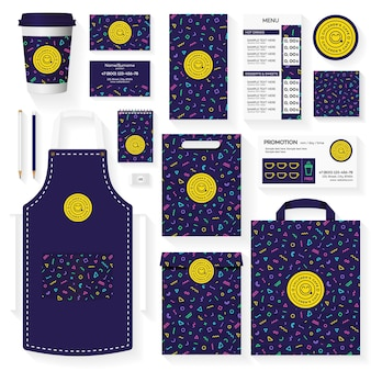 Childrens cafe corporate identity template design set with memphis geometric pattern.