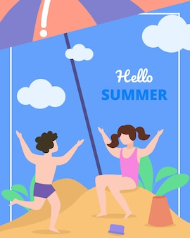 Childrens card with inscription hello summer