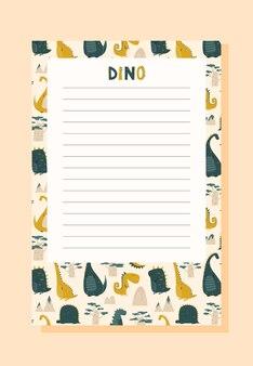 Детский контрольный список блокнота с динозавром