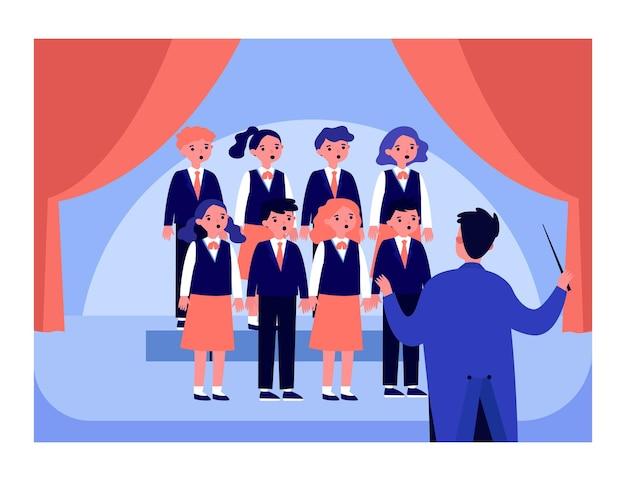 Детский хор с дирижером на сцене плоской векторной иллюстрации. ученики поют на школьном концерте. музыканты, концепция исполнения для баннера, дизайн веб-сайта или целевой веб-страницы