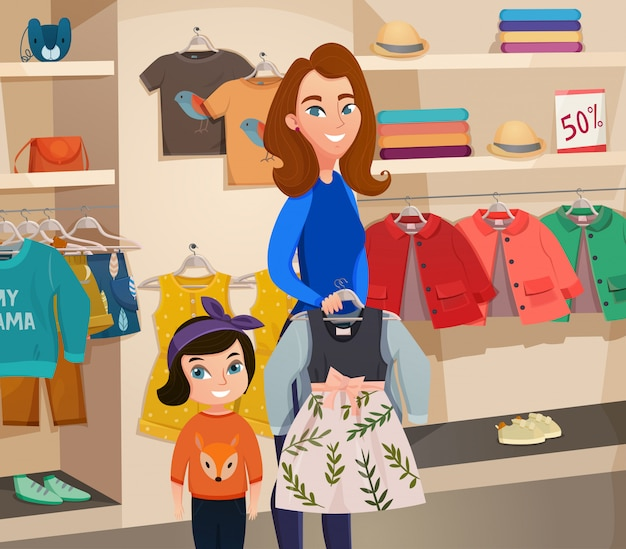 Childrens clothing store illustration