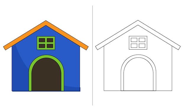 Детская раскраска иллюстрация дом голубой собаки