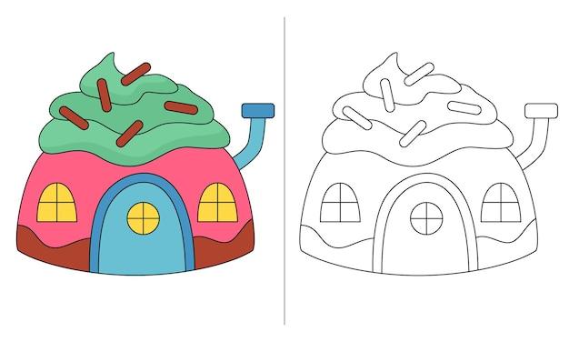 子供の塗り絵のイラストグリーンクリームとケーキの家