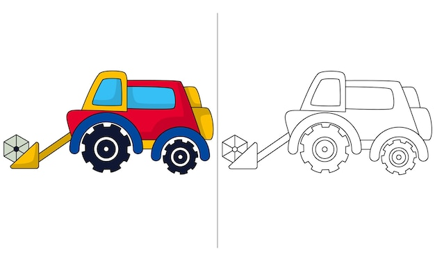 Childrens coloring book illustration front loader tractor