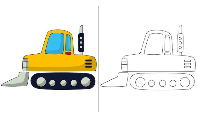 Childrens coloring book illustration seeder tractor