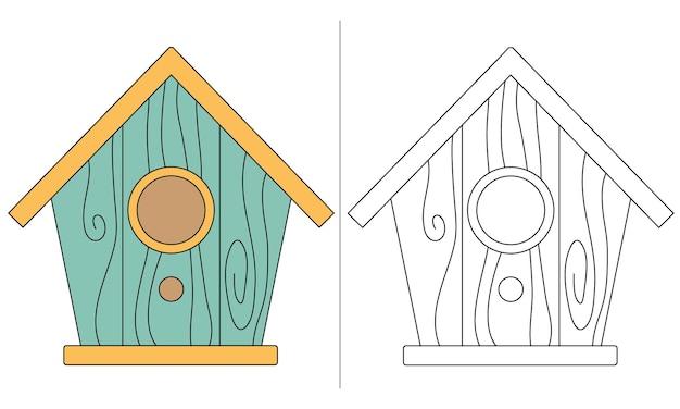 子供の塗り絵イラストシンプルな鳥の家