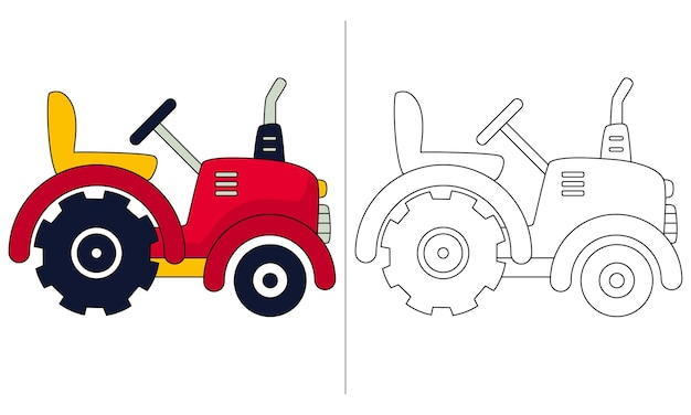 Childrens coloring book illustration small tractor
