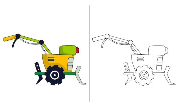 Childrens coloring book illustration tractor